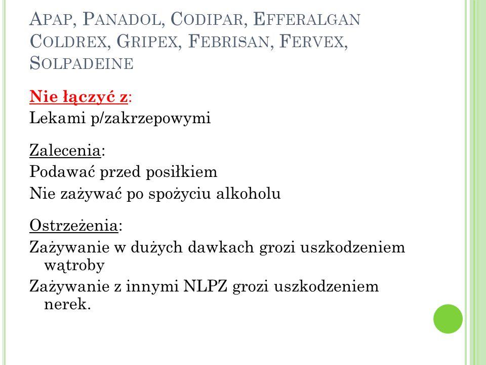 A PAP, P ANADOL, C ODIPAR, E FFERALGAN C OLDREX, G RIPEX, F EBRISAN, F ERVEX, S OLPADEINE Nie łączyć z : Lekami p/zakrzepowymi Zalecenia: Podawać prze