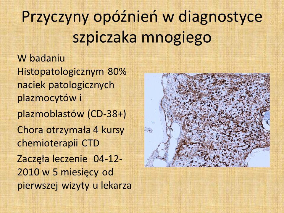 Marzec 2011 Pierwotna oporność na hemioterapię CTD Nadal nowotwór masywnie nacieka szpik kostny Chora rozpoczyna terapię Bortezomibem/deksameta zonem