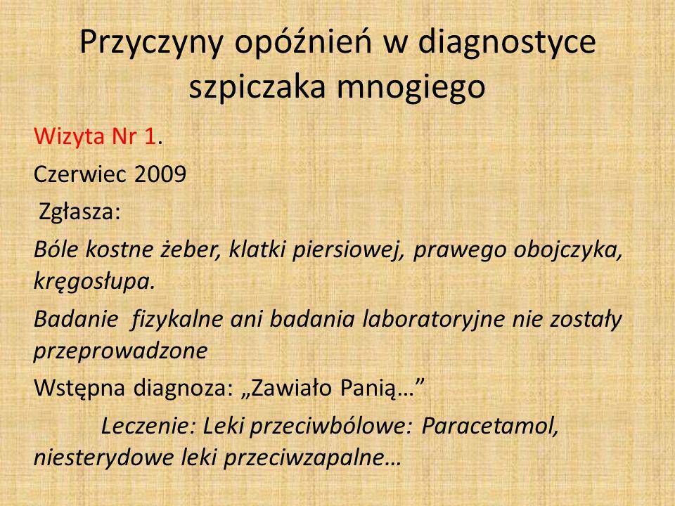 Przyczyny opóźnień w diagnostyce szpiczaka mnogiego Wizyta Nr 1. Czerwiec 2009 Zgłasza: Bóle kostne żeber, klatki piersiowej, prawego obojczyka, kręgo