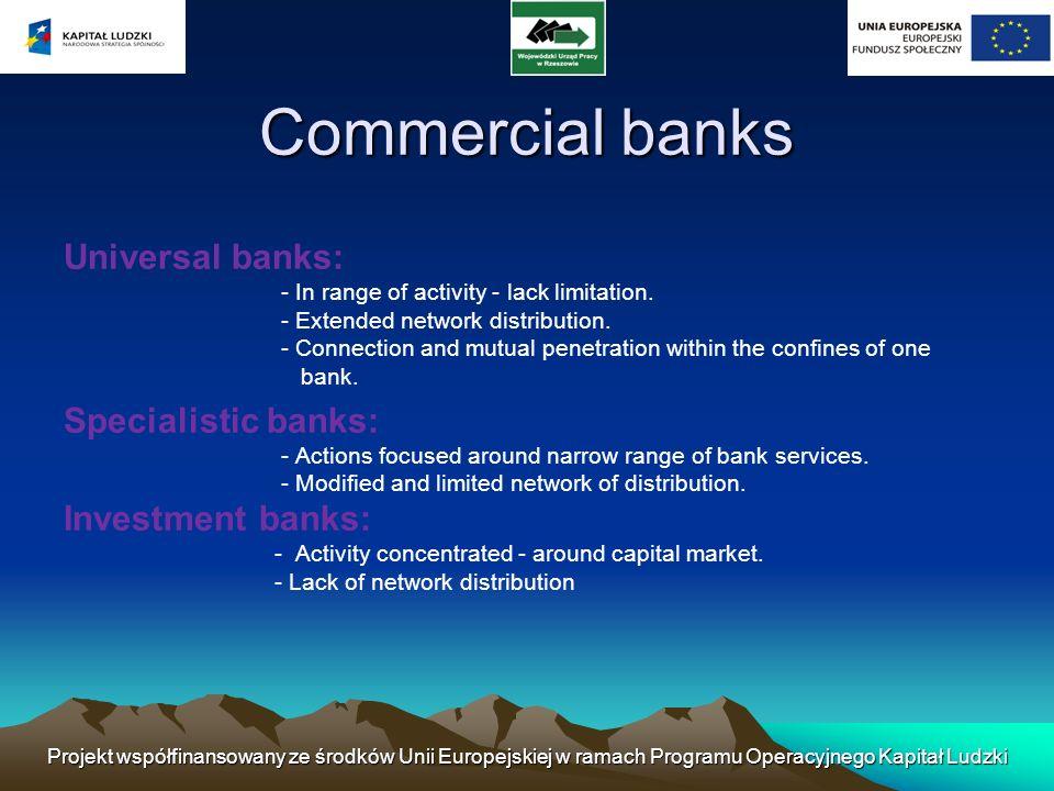Projekt współfinansowany ze środków Unii Europejskiej w ramach Programu Operacyjnego Kapitał Ludzki Division of bank also exists from the point of view of legal from of activity: - State banks (state euterpises).