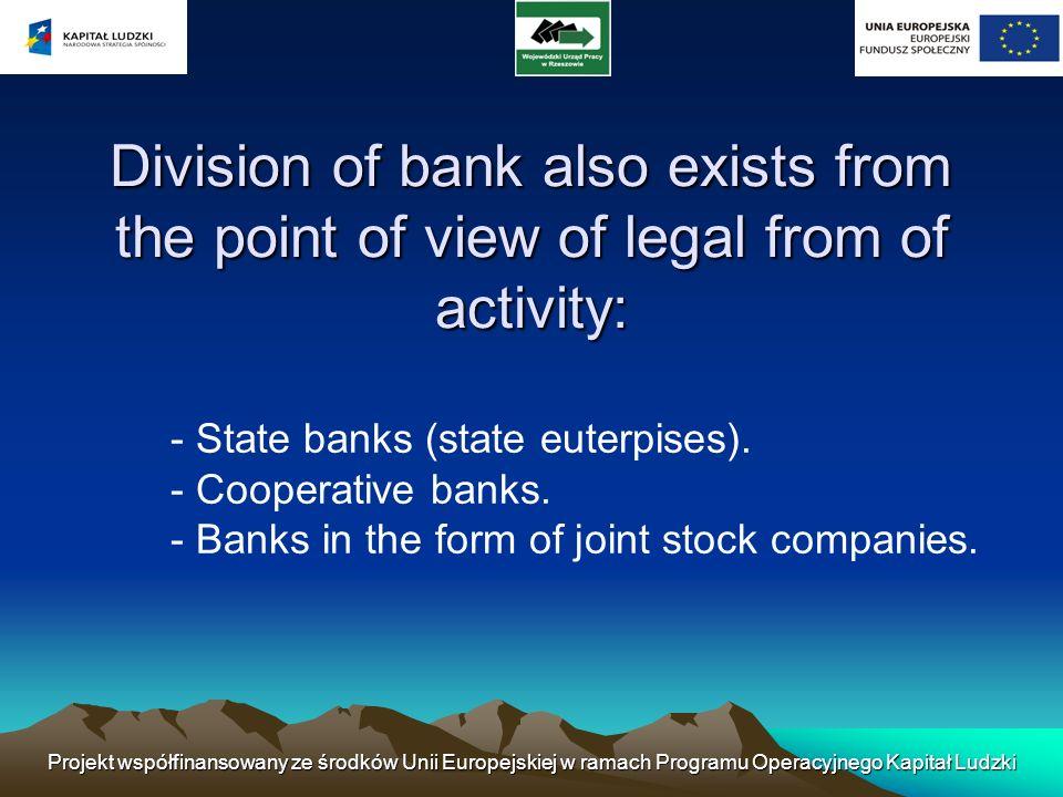 Projekt współfinansowany ze środków Unii Europejskiej w ramach Programu Operacyjnego Kapitał Ludzki Bank risk Bank risk means that bank is exposed to loss.