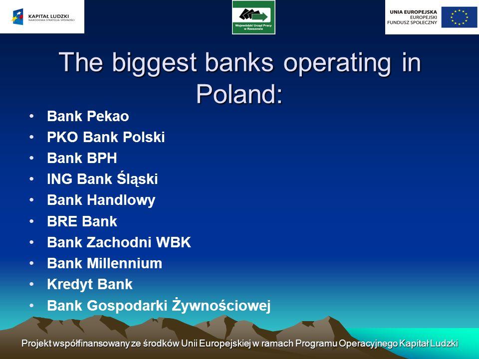 Projekt współfinansowany ze środków Unii Europejskiej w ramach Programu Operacyjnego Kapitał Ludzki The biggest banks operating in Poland: Bank Pekao
