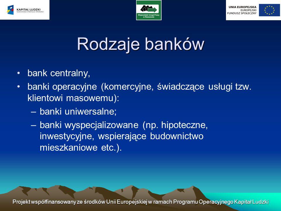 Projekt współfinansowany ze środków Unii Europejskiej w ramach Programu Operacyjnego Kapitał Ludzki Bank centralny Instytucja odpowiedzialna za funkcjonowanie systemu bankowego.