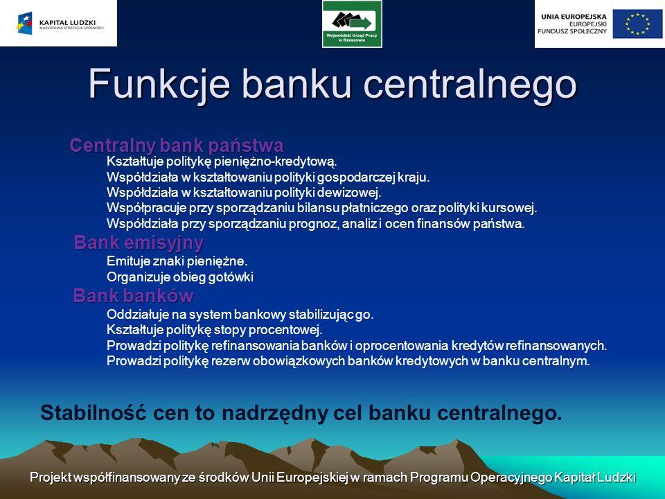 Projekt współfinansowany ze środków Unii Europejskiej w ramach Programu Operacyjnego Kapitał Ludzki Banki operacyjne Są to instytucje finansowe zajmujące się pozyskiwaniem nadwyżek finansowych i czasowym przekazywaniem tych nadwyżek podmiotom, które potrzebują środków finansowych.
