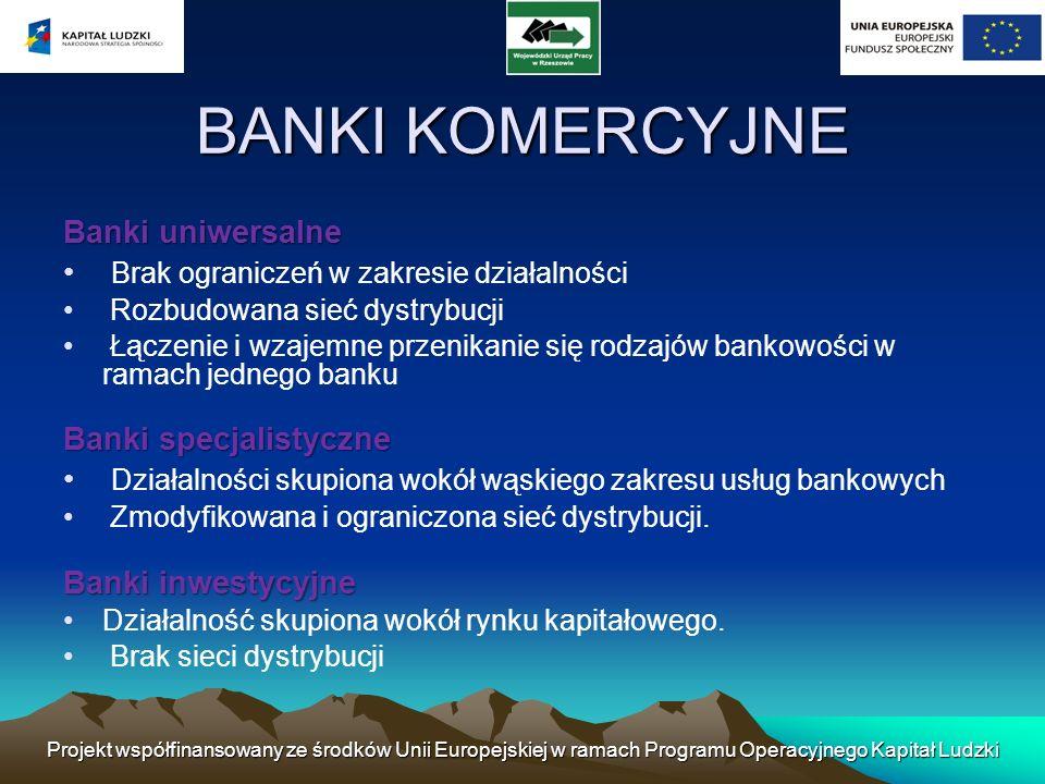 Projekt współfinansowany ze środków Unii Europejskiej w ramach Programu Operacyjnego Kapitał Ludzki Istnieje także podział banków ze względu na prawną formę działalności: banki państwowe (przedsiębiorstwa państwowe); banki spółdzielcze (spółdzielnie); banki w formie spółek akcyjnych.
