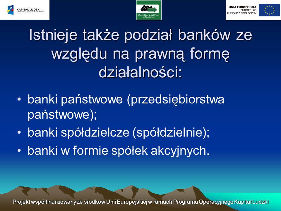 Projekt współfinansowany ze środków Unii Europejskiej w ramach Programu Operacyjnego Kapitał Ludzki Ryzyko bankowe Ryzyko bankowe oznacza, że z określonych powodów bank jest narażony na stratę.