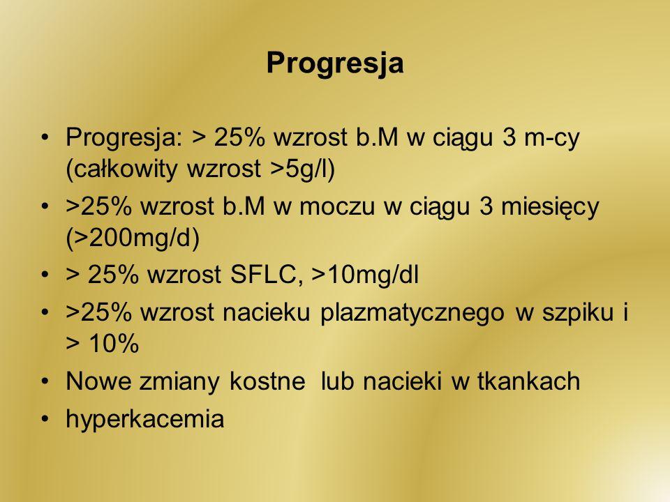 Progresja Progresja: > 25% wzrost b.M w ciągu 3 m-cy (całkowity wzrost >5g/l) >25% wzrost b.M w moczu w ciągu 3 miesięcy (>200mg/d) > 25% wzrost SFLC,