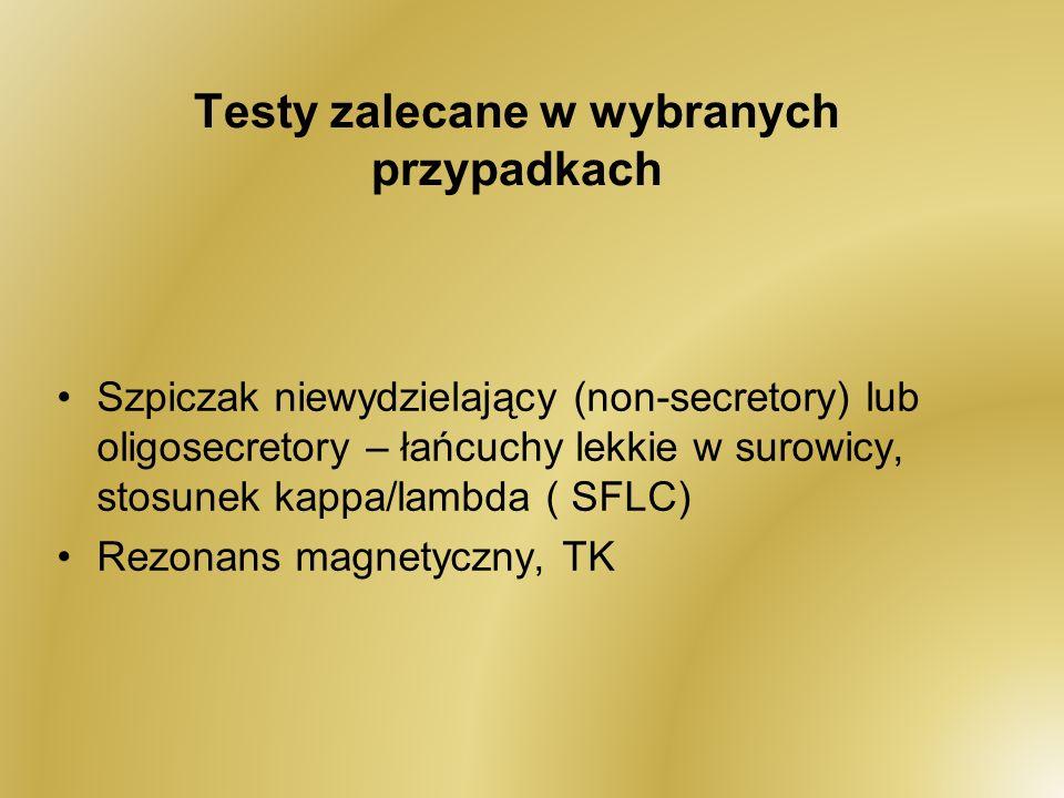 Testy zalecane w wybranych przypadkach Szpiczak niewydzielający (non-secretory) lub oligosecretory – łańcuchy lekkie w surowicy, stosunek kappa/lambda