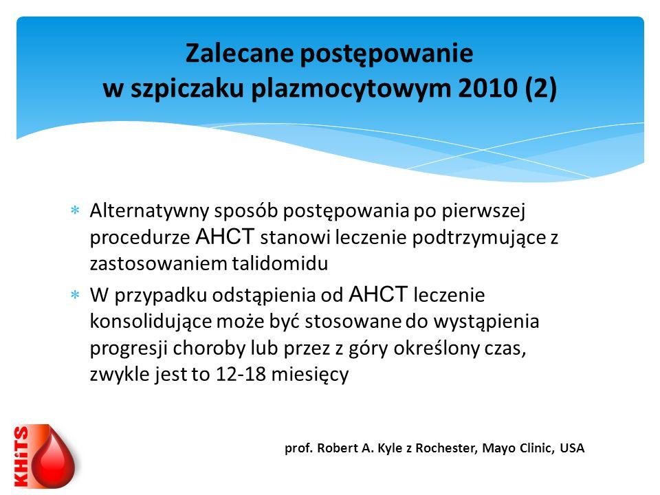 Alternatywny sposób postępowania po pierwszej procedurze AHCT stanowi leczenie podtrzymujące z zastosowaniem talidomidu W przypadku odstąpienia od AHC