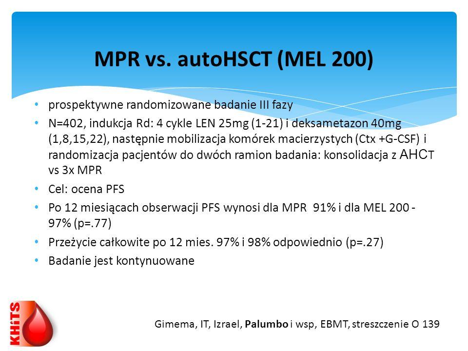 prospektywne randomizowane badanie III fazy N=402, indukcja Rd: 4 cykle LEN 25mg (1-21) i deksametazon 40mg (1,8,15,22), następnie mobilizacja komórek