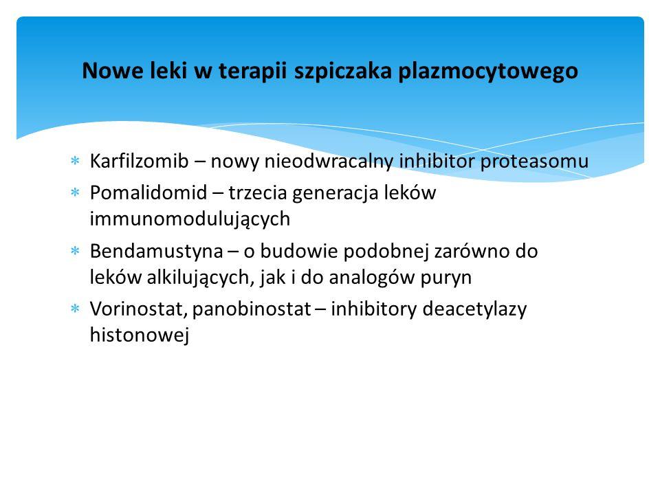Karfilzomib – nowy nieodwracalny inhibitor proteasomu Pomalidomid – trzecia generacja leków immunomodulujących Bendamustyna – o budowie podobnej zarów