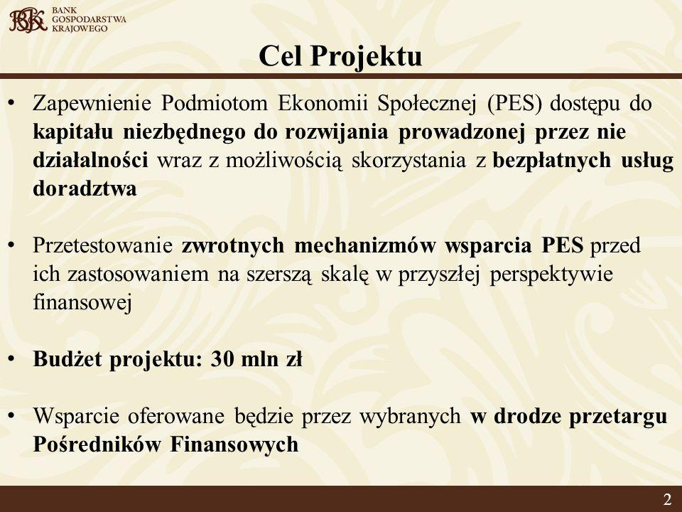 Cel Projektu Zapewnienie Podmiotom Ekonomii Społecznej (PES) dostępu do kapitału niezbędnego do rozwijania prowadzonej przez nie działalności wraz z możliwością skorzystania z bezpłatnych usług doradztwa Przetestowanie zwrotnych mechanizmów wsparcia PES przed ich zastosowaniem na szerszą skalę w przyszłej perspektywie finansowej Budżet projektu: 30 mln zł Wsparcie oferowane będzie przez wybranych w drodze przetargu Pośredników Finansowych 2