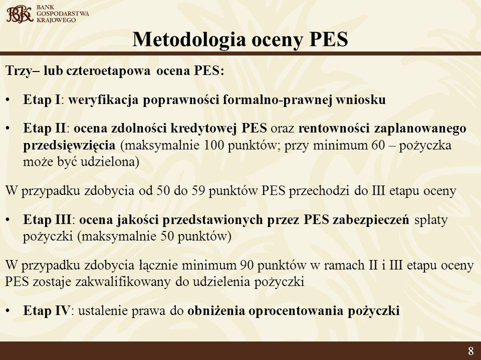 Metodologia oceny PES Trzy– lub czteroetapowa ocena PES: Etap I: weryfikacja poprawności formalno-prawnej wniosku Etap II: ocena zdolności kredytowej PES oraz rentowności zaplanowanego przedsięwzięcia (maksymalnie 100 punktów; przy minimum 60 – pożyczka może być udzielona) W przypadku zdobycia od 50 do 59 punktów PES przechodzi do III etapu oceny Etap III: ocena jakości przedstawionych przez PES zabezpieczeń spłaty pożyczki (maksymalnie 50 punktów) W przypadku zdobycia łącznie minimum 90 punktów w ramach II i III etapu oceny PES zostaje zakwalifikowany do udzielenia pożyczki Etap IV: ustalenie prawa do obniżenia oprocentowania pożyczki 8