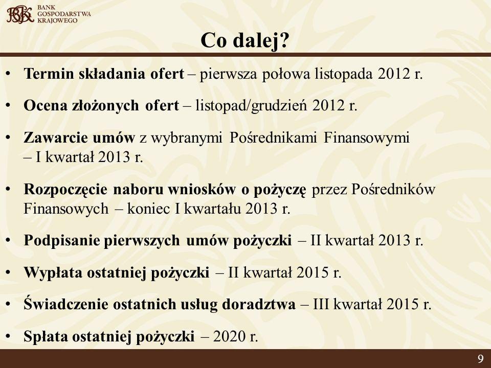 Co dalej. Termin składania ofert – pierwsza połowa listopada 2012 r.
