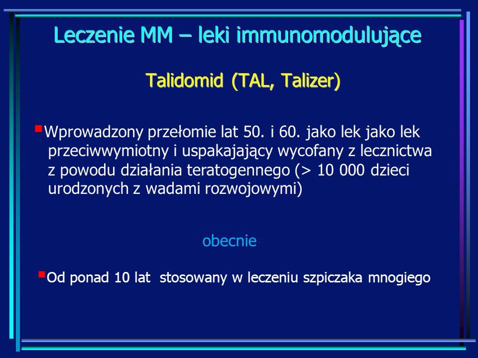 Leczenie MM – leki immunomodulujące Wprowadzony przełomie lat 50. i 60. jako lek jako lek przeciwwymiotny i uspakajający wycofany z lecznictwa z powod