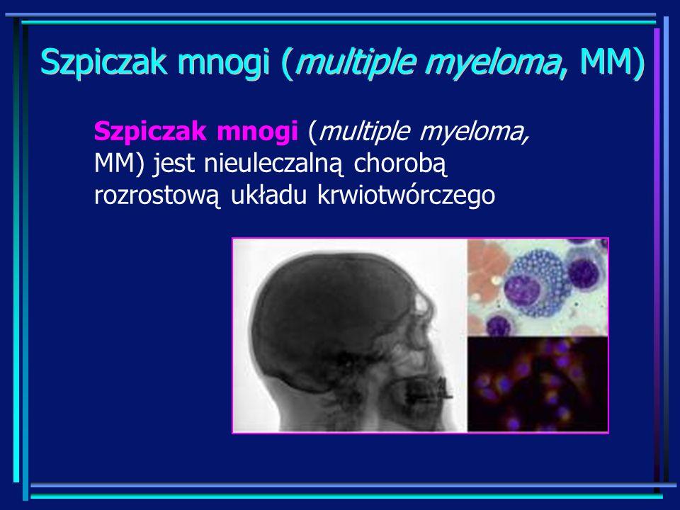Leczenie MM – leki immunomodulujące LenalidomidLenalidomid Lek w postaci doustnej Skuteczny w przypadku oporności na TAL Nie ma działania teratogennego, nie wywołuje polineuropatii wysoki koszt terapii