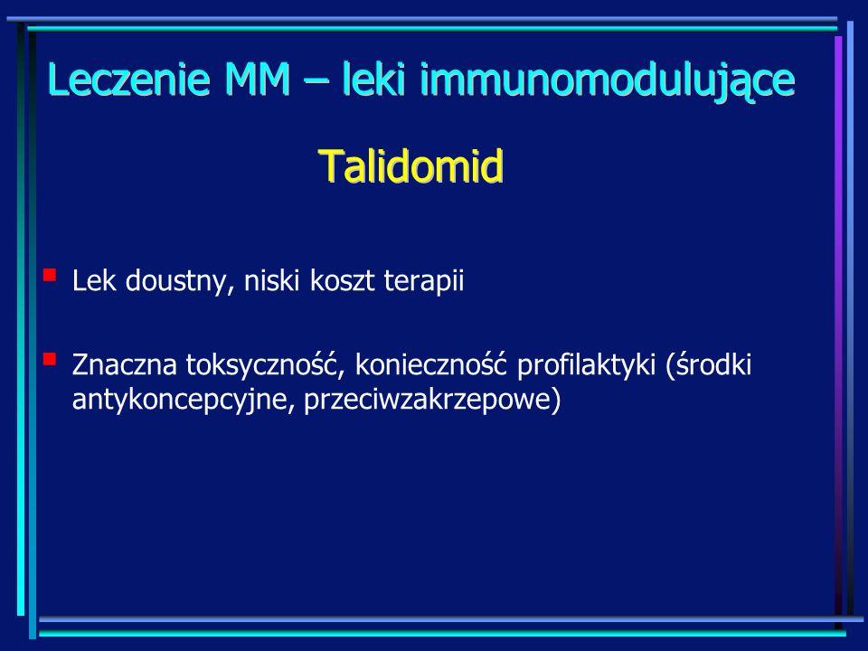 Leczenie MM – leki immunomodulujące Lek doustny, niski koszt terapii Znaczna toksyczność, konieczność profilaktyki (środki antykoncepcyjne, przeciwzak