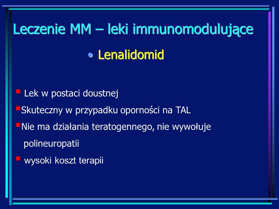 Leczenie MM – leki immunomodulujące LenalidomidLenalidomid Lek w postaci doustnej Skuteczny w przypadku oporności na TAL Nie ma działania teratogenneg