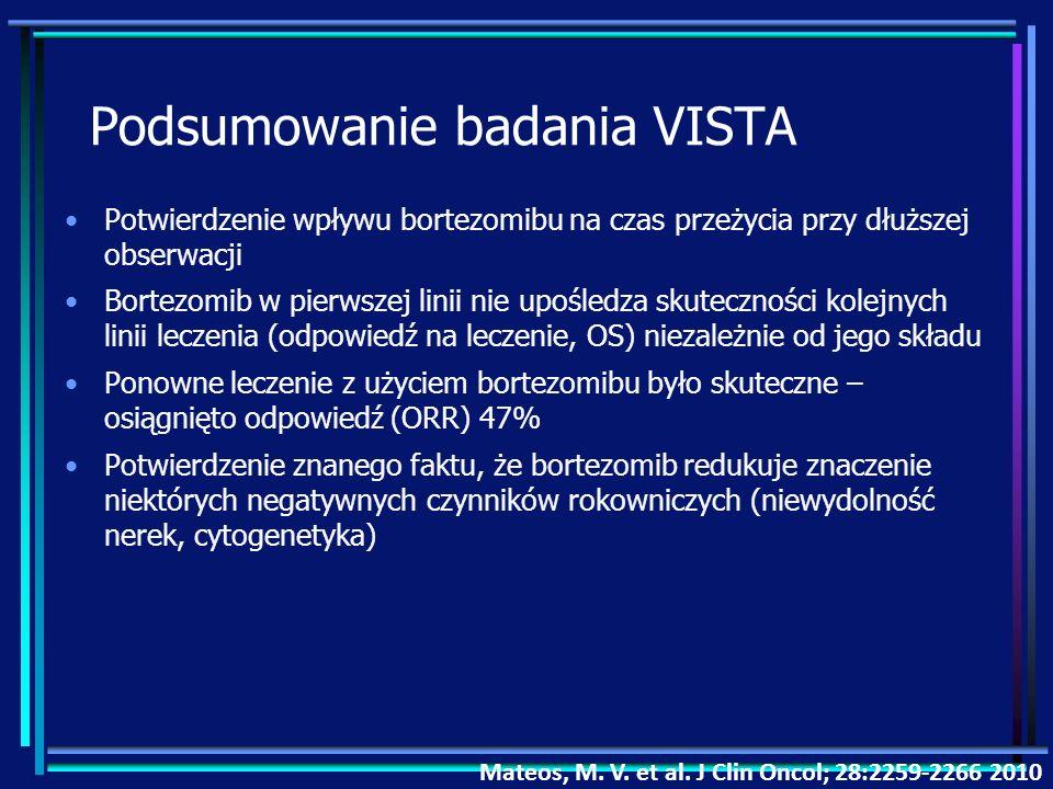 Podsumowanie badania VISTA Potwierdzenie wpływu bortezomibu na czas przeżycia przy dłuższej obserwacji Bortezomib w pierwszej linii nie upośledza skut