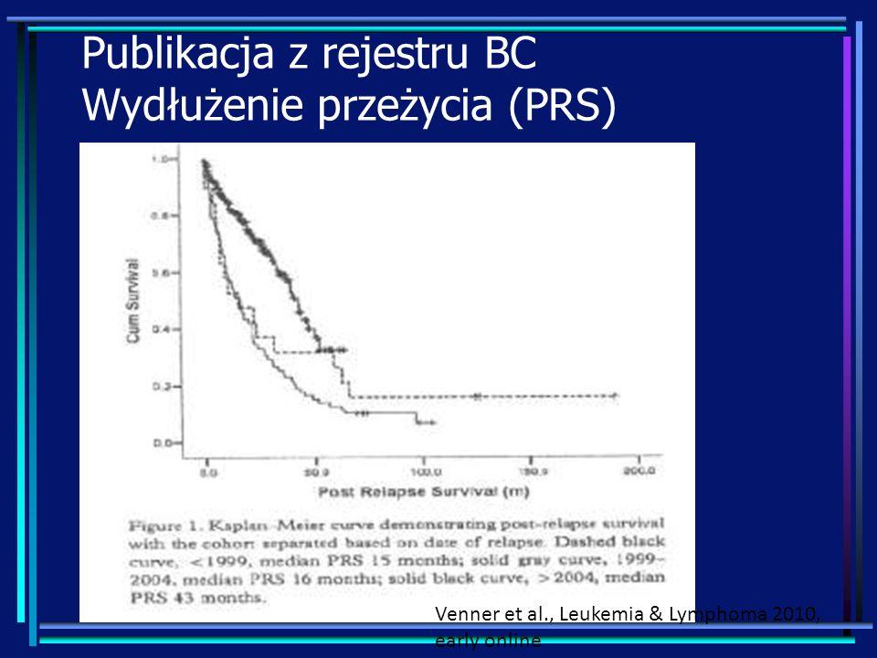 Publikacja z rejestru BC Wydłużenie przeżycia (PRS) Venner et al., Leukemia & Lymphoma 2010, early online