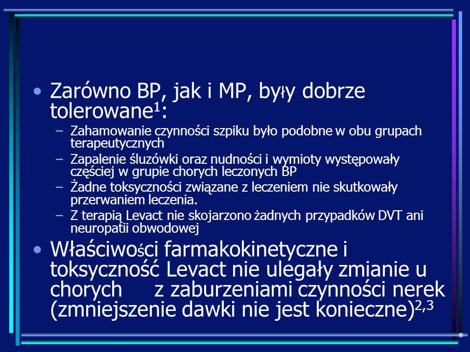 Zarówno BP, jak i MP, by ł y dobrze tolerowane 1 : –Zahamowanie czynności szpiku było podobne w obu grupach terapeutycznych –Zapalenie śluzówki oraz n