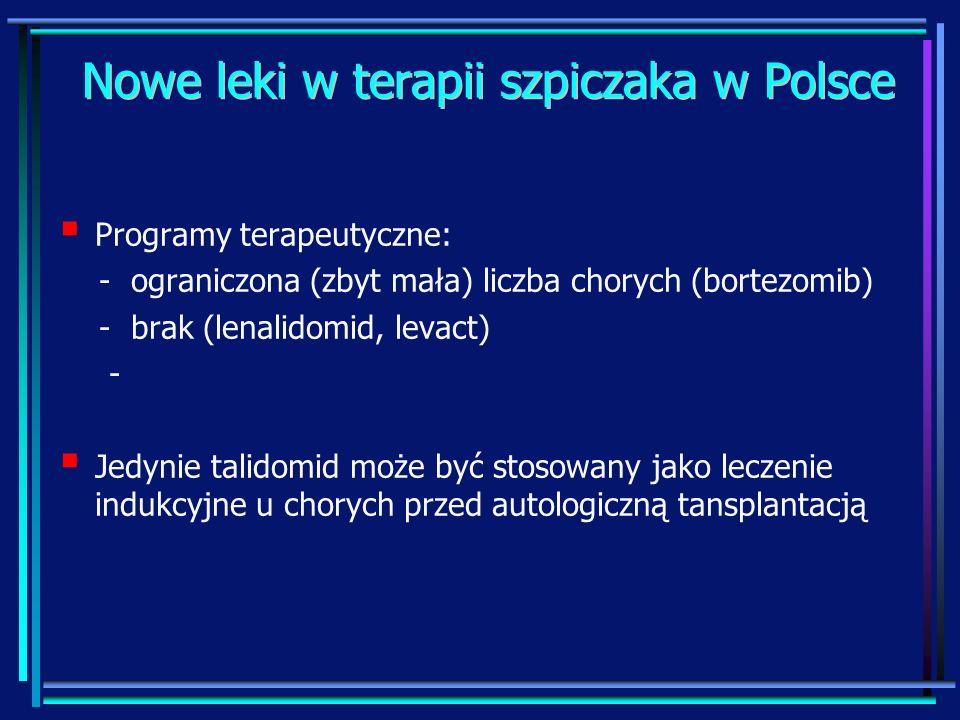 Nowe leki w terapii szpiczaka w Polsce Programy terapeutyczne: - ograniczona (zbyt mała) liczba chorych (bortezomib) - brak (lenalidomid, levact) - Je