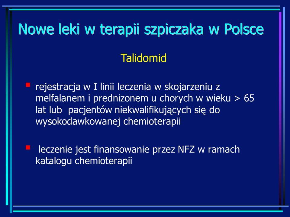 Nowe leki w terapii szpiczaka w Polsce rejestracja w I linii leczenia w skojarzeniu z melfalanem i prednizonem u chorych w wieku > 65 lat lub pacjentó