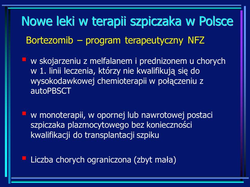 Nowe leki w terapii szpiczaka w Polsce w skojarzeniu z melfalanem i prednizonem u chorych w 1. linii leczenia, którzy nie kwalifikują się do wysokodaw
