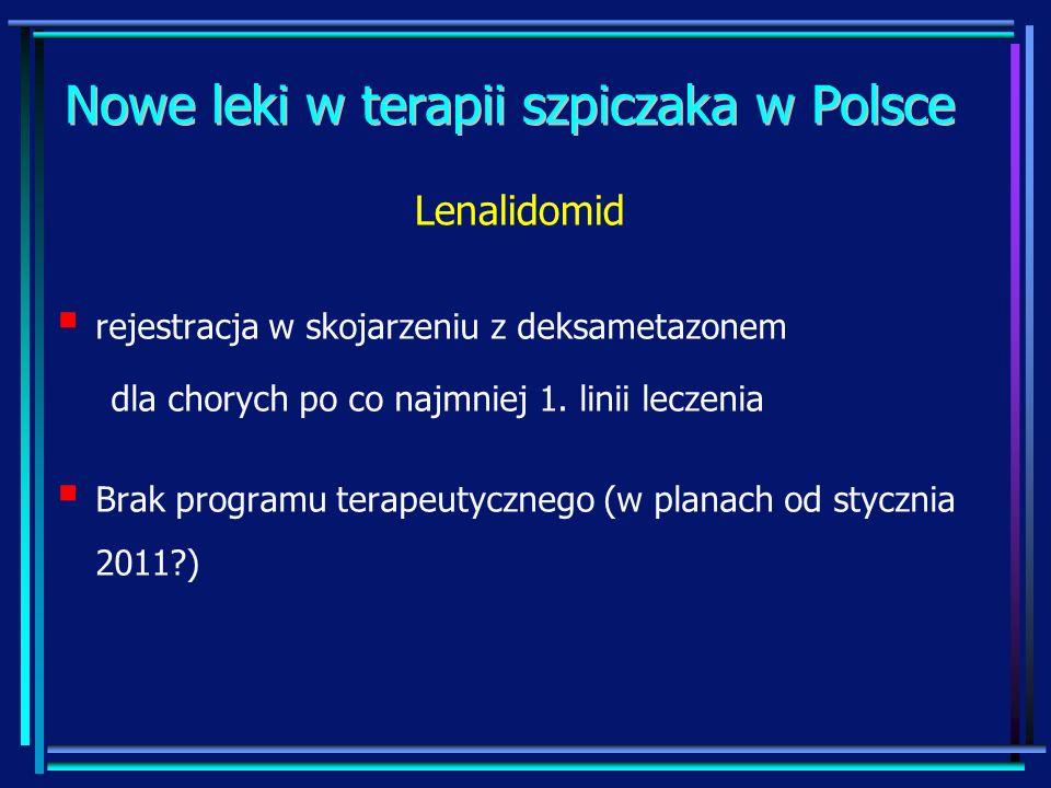 Nowe leki w terapii szpiczaka w Polsce rejestracja w skojarzeniu z deksametazonem dla chorych po co najmniej 1. linii leczenia Brak programu terapeuty