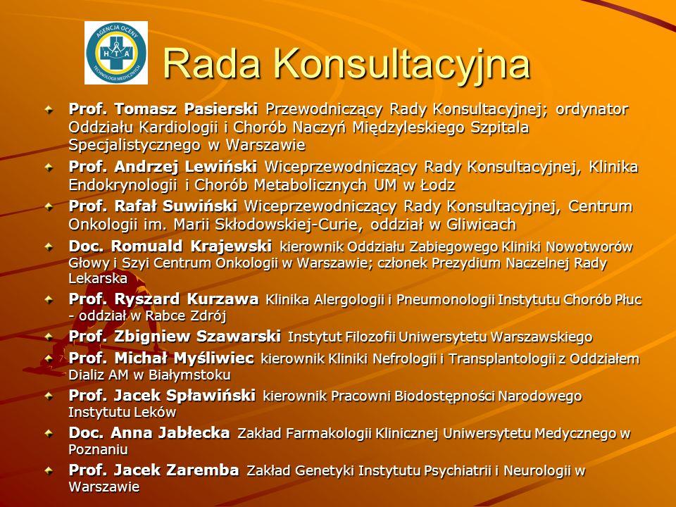 Rada Konsultacyjna Prof. Tomasz Pasierski Przewodniczący Rady Konsultacyjnej; ordynator Oddziału Kardiologii i Chorób Naczyń Międzyleskiego Szpitala S
