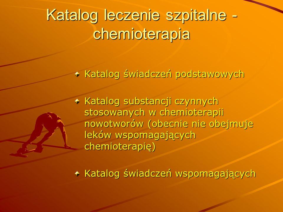 Katalog leczenie szpitalne - chemioterapia Katalog świadczeń podstawowych Katalog substancji czynnych stosowanych w chemioterapii nowotworów (obecnie