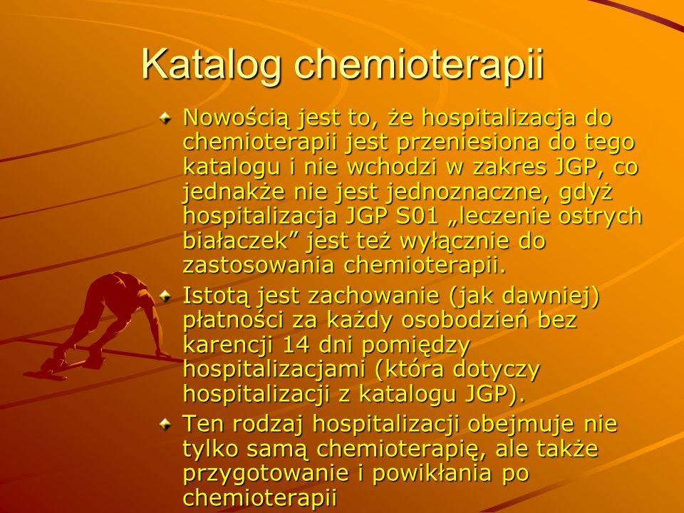 Katalog chemioterapii Nowością jest to, że hospitalizacja do chemioterapii jest przeniesiona do tego katalogu i nie wchodzi w zakres JGP, co jednakże