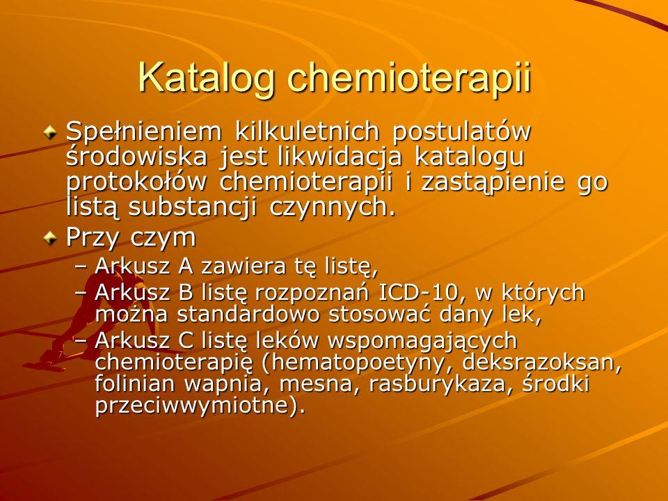 Katalog chemioterapii Spełnieniem kilkuletnich postulatów środowiska jest likwidacja katalogu protokołów chemioterapii i zastąpienie go listą substanc