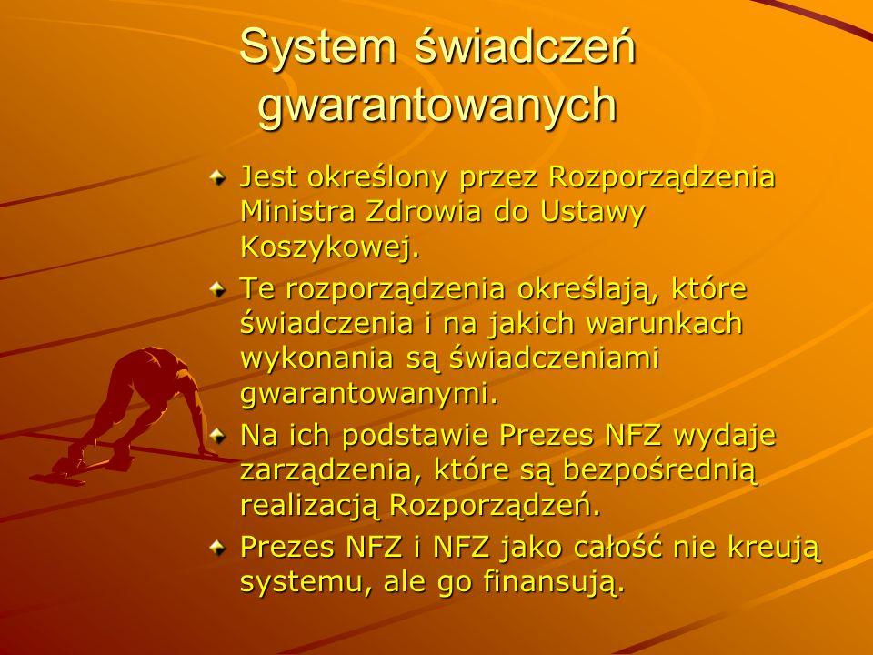 System świadczeń gwarantowanych Jest określony przez Rozporządzenia Ministra Zdrowia do Ustawy Koszykowej. Te rozporządzenia określają, które świadcze