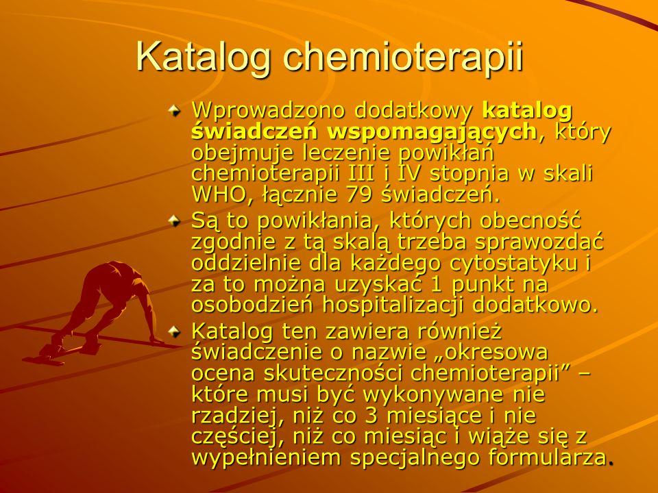Katalog chemioterapii Wprowadzono dodatkowy katalog świadczeń wspomagających, który obejmuje leczenie powikłań chemioterapii III i IV stopnia w skali