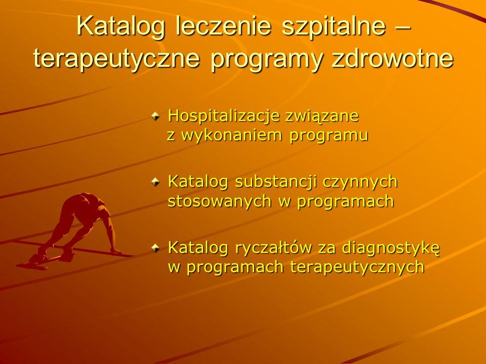 Katalog leczenie szpitalne – terapeutyczne programy zdrowotne Hospitalizacje związane z wykonaniem programu z wykonaniem programu Katalog substancji c