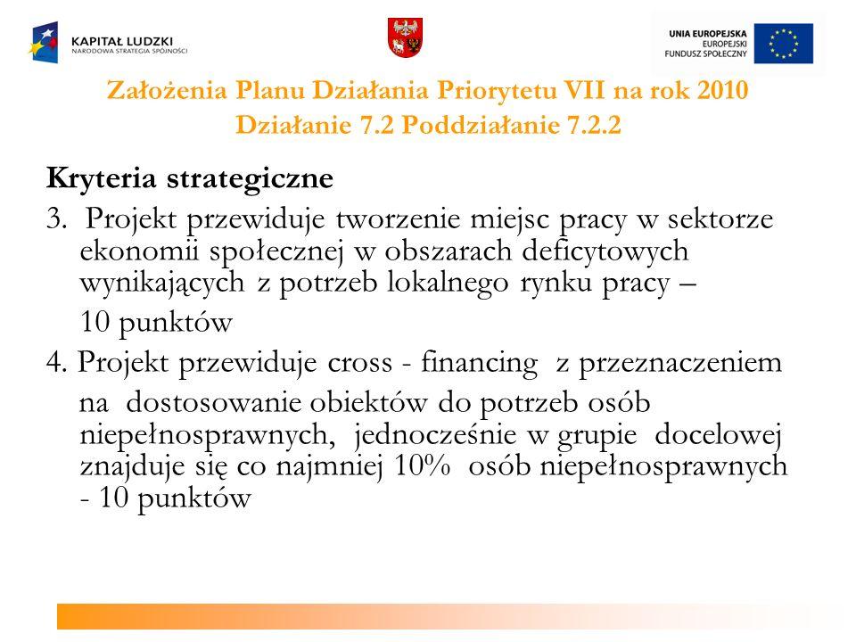 Założenia Planu Działania Priorytetu VII na rok 2010 Działanie 7.2 Poddziałanie 7.2.2 Kryteria strategiczne 3.