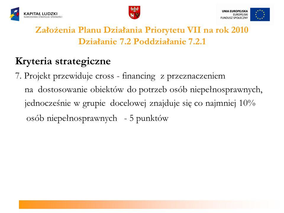 Założenia Planu Działania Priorytetu VII na rok 2010 Działanie 7.2 Poddziałanie 7.2.2 Kryterium dostępu o wadze strategicznej Wnioskodawca składa wniosek o dofinansowanie projektu obejmujący obszar interwencji, na którym dotychczas nie funkcjonuje ośrodek wsparcia ekonomii społecznej, tj.