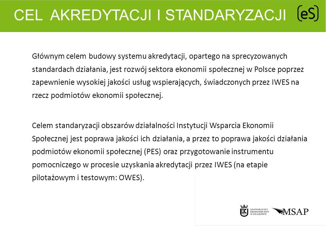 CEL AKREDYTACJI I STANDARYZACJI Głównym celem budowy systemu akredytacji, opartego na sprecyzowanych standardach działania, jest rozwój sektora ekonom