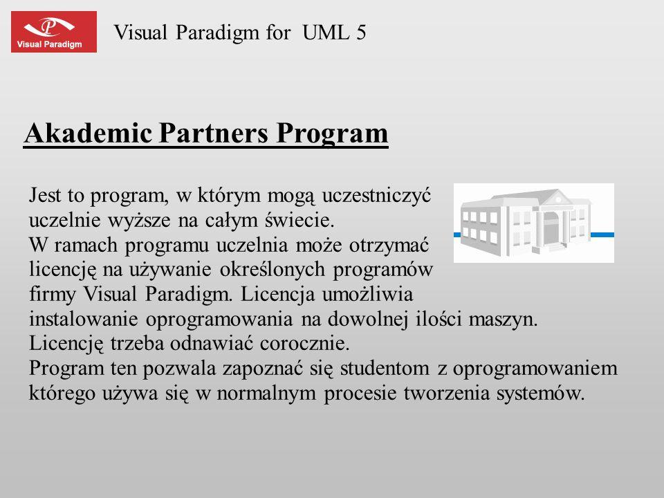 Visual Paradigm for UML 5 Akademic Partners Program Jest to program, w którym mogą uczestniczyć uczelnie wyższe na całym świecie. W ramach programu uc