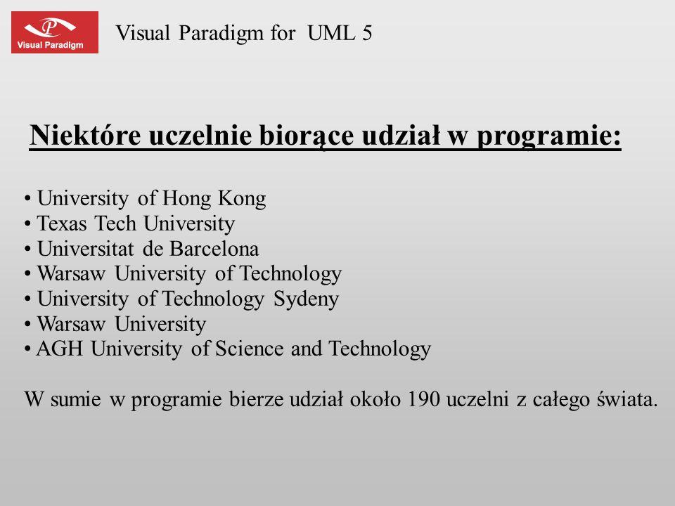 Visual Paradigm for UML 5 Niektóre uczelnie biorące udział w programie: University of Hong Kong Texas Tech University Universitat de Barcelona Warsaw