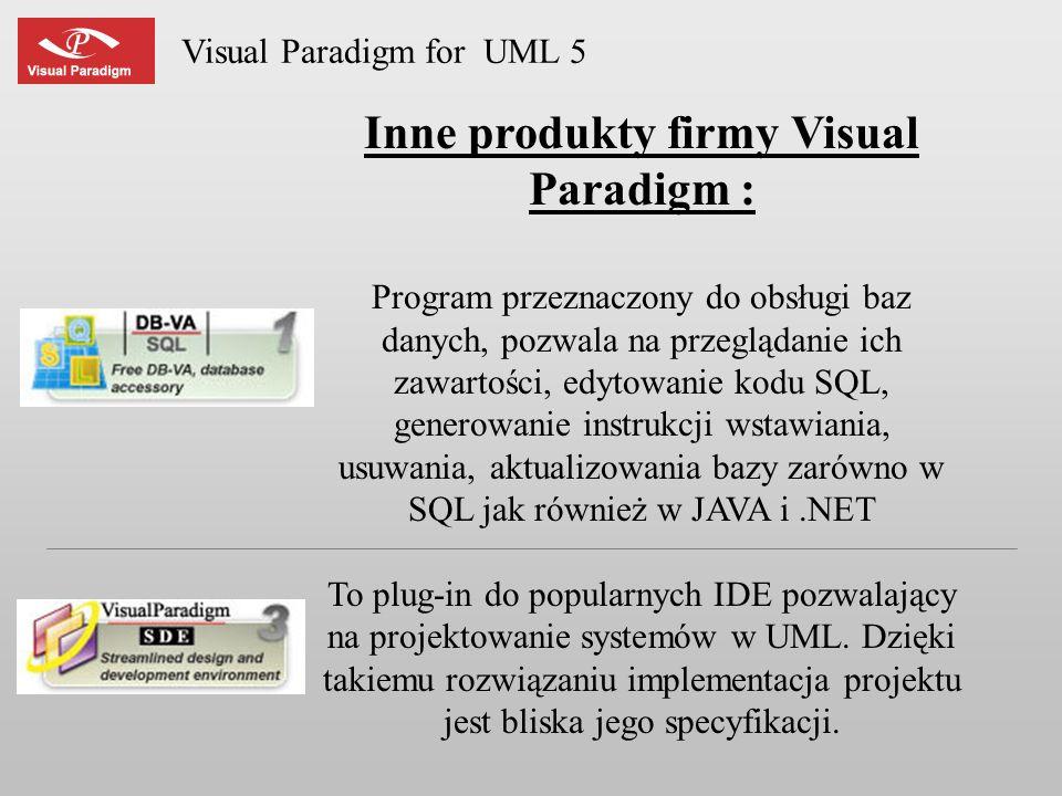 Visual Paradigm for UML 5 Inne produkty firmy Visual Paradigm : Program przeznaczony do obsługi baz danych, pozwala na przeglądanie ich zawartości, ed