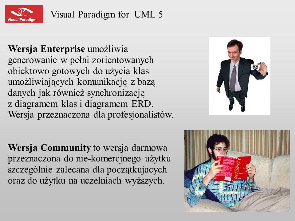 Visual Paradigm for UML 5 Wersja Enterprise umożliwia generowanie w pełni zorientowanych obiektowo gotowych do użycia klas umożliwiających komunikację