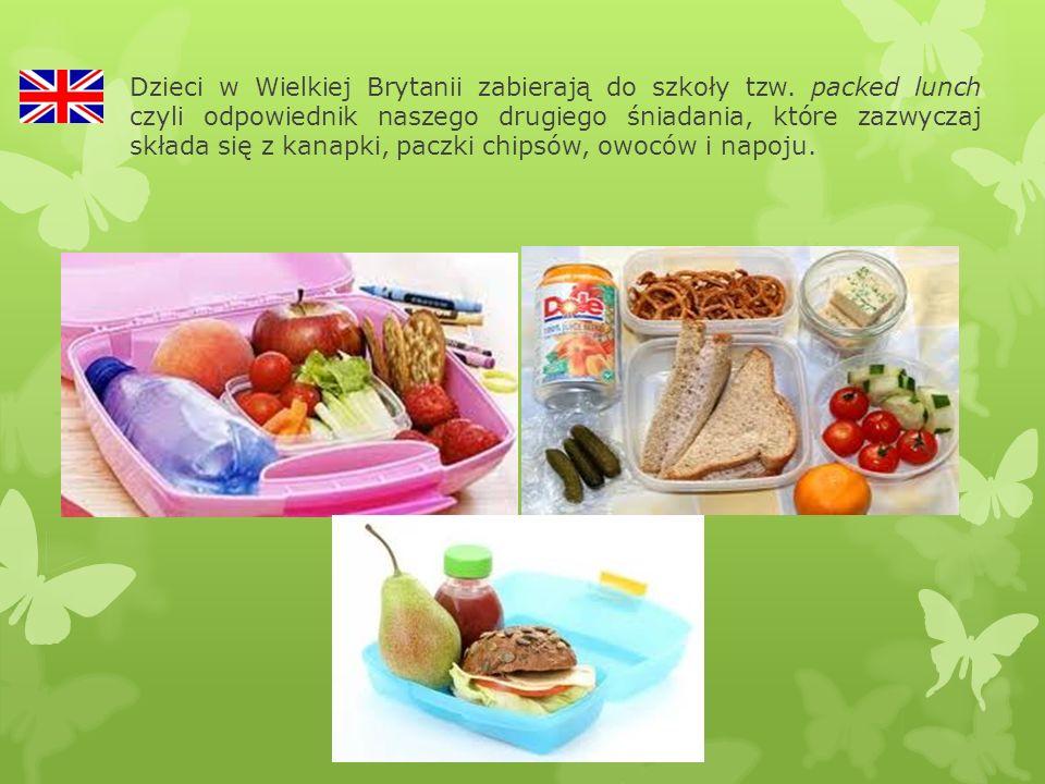 Dzieci w Wielkiej Brytanii zabierają do szkoły tzw. packed lunch czyli odpowiednik naszego drugiego śniadania, które zazwyczaj składa się z kanapki, p