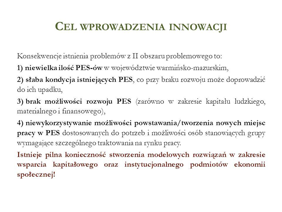 C EL WPROWADZENIA INNOWACJI Konsekwencje istnienia problemów z II obszaru problemowego to: 1) niewielka ilość PES-ów w województwie warmińsko-mazurski