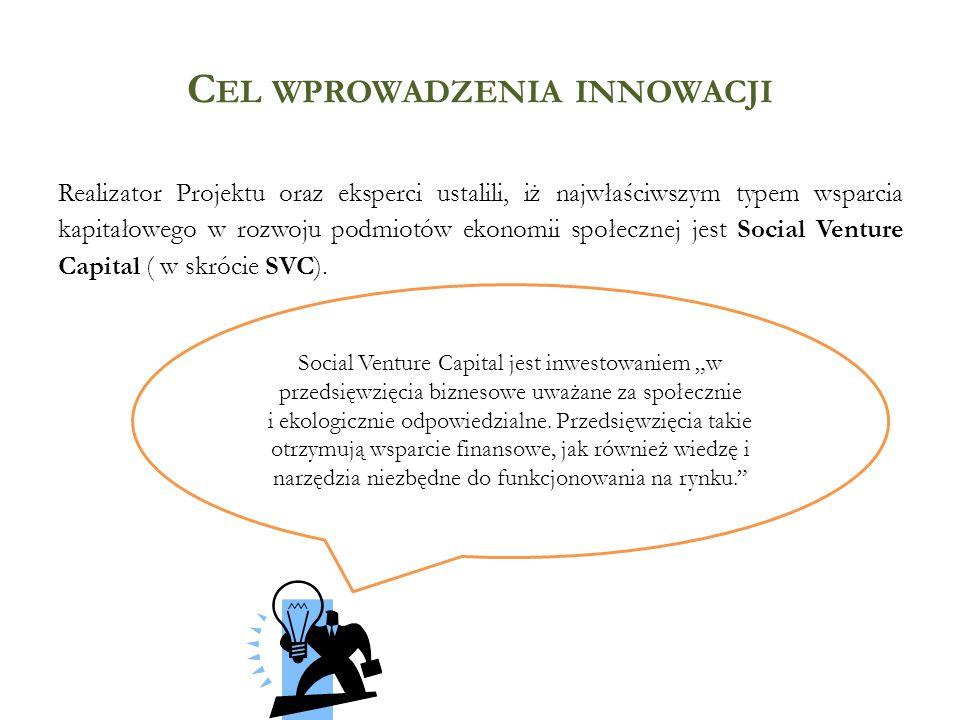 C EL WPROWADZENIA INNOWACJI Realizator Projektu oraz eksperci ustalili, iż najwłaściwszym typem wsparcia kapitałowego w rozwoju podmiotów ekonomii spo