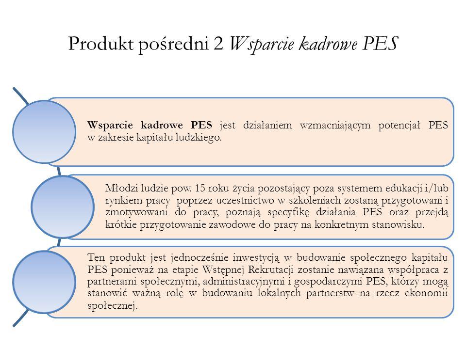 Produkt pośredni 2 Wsparcie kadrowe PES Wsparcie kadrowe PES jest działaniem wzmacniającym potencjał PES w zakresie kapitału ludzkiego. Młodzi ludzie