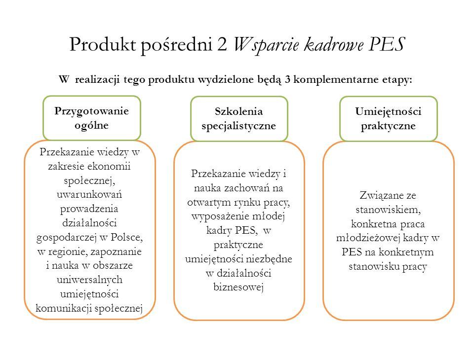 Produkt pośredni 2 Wsparcie kadrowe PES Przekazanie wiedzy w zakresie ekonomii społecznej, uwarunkowań prowadzenia działalności gospodarczej w Polsce,