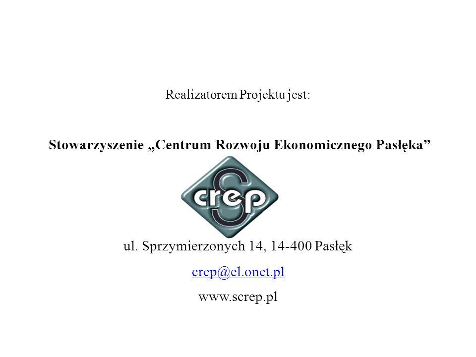 Realizatorem Projektu jest: Stowarzyszenie Centrum Rozwoju Ekonomicznego Pasłęka ul. Sprzymierzonych 14, 14-400 Pasłęk crep@el.onet.pl www.screp.pl