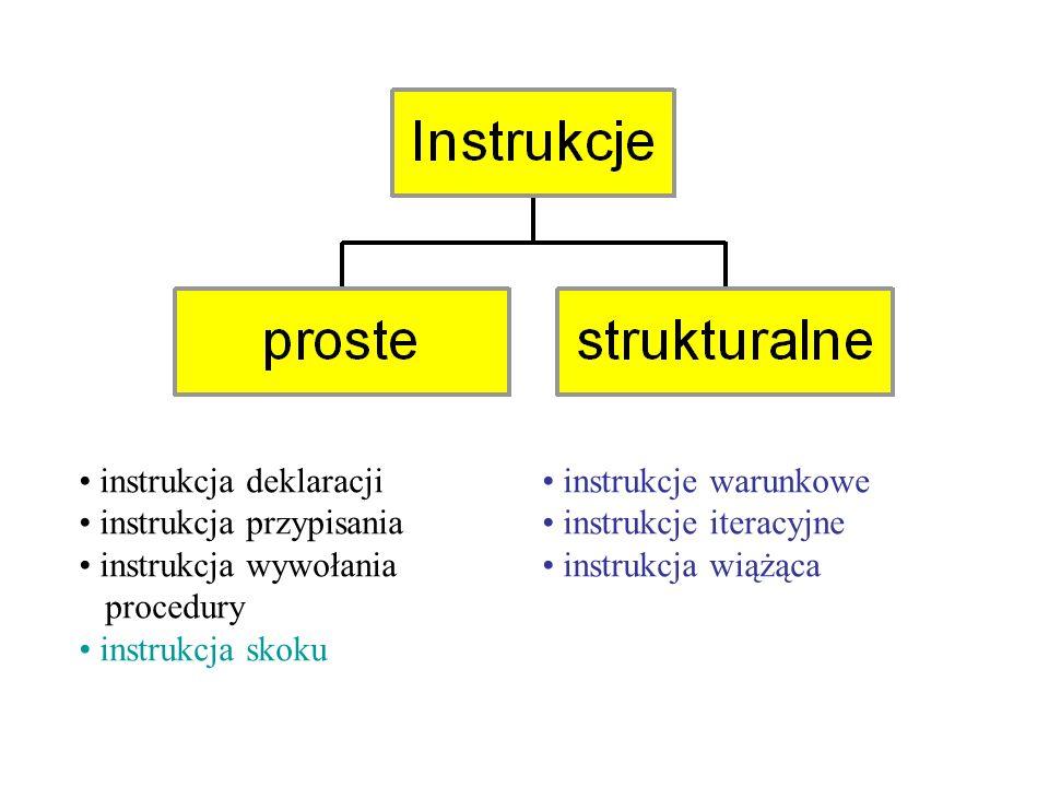 instrukcja deklaracji instrukcja przypisania instrukcja wywołania procedury instrukcja skoku instrukcje warunkowe instrukcje iteracyjne instrukcja wiążąca